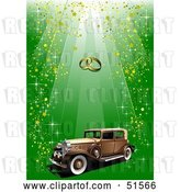 Vector Clip Art of Retro Car with Gold Confetti on Green, Under Wedding Rings by