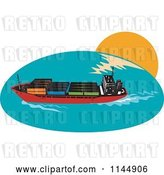 Vector Clip Art of Retro Cargo Carrier Ship with Containers 1 by Patrimonio