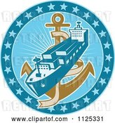 Vector Clip Art of Retro Cargo Ship and Anchor in a Blue Circle of Stars by Patrimonio