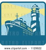 Vector Clip Art of Retro Cargo Ship and with Lighthouse with Beacon Lights Square Icon by Patrimonio