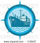 Vector Clip Art of Retro Cargo Ship Compass in Blue by Patrimonio