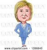 Vector Clip Art of Retro Caricature of Hillary Clinton Standing in a Suit by Patrimonio
