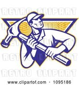 Vector Clip Art of Retro Carpenter Carrying a Large Hammer over a Ray Triangle by Patrimonio