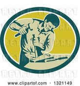 Vector Clip Art of Retro Carpenter Chiseling in a Teal White and Green Oval by Patrimonio