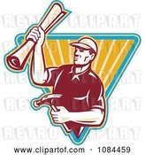 Vector Clip Art of Retro Carpenter Holding Blueprints and a Hammer by Patrimonio