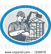 Vector Clip Art of Retro Carpenter over a Building Frame in an Oval by Patrimonio
