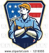 Vector Clip Art of Retro Carpenter Worker with Folded Arms over an American Shield by Patrimonio