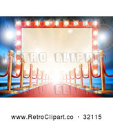 Vector Clip Art of Retro Carpet and Posts Leading to a Marquee Theater Sign by AtStockIllustration