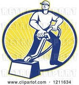 Vector Clip Art of Retro Carpet Cleaner Guy with a Vacuum over an Oval of Sunshine by Patrimonio