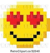 Vector Clip Art of Retro Cartoon 8 Bit Video Game Style Emoji Smiley Face with Heart Eyes by AtStockIllustration