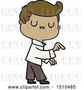 Vector Clip Art of Retro Cartoon Aloof Guy Pointing Finger by Lineartestpilot