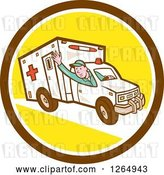 Vector Clip Art of Retro Cartoon Ambulance Driver Waving in a Brown White and Yellow Circle by Patrimonio