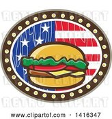 Vector Clip Art of Retro Cartoon American Cheeseburger in a Wood Textured American Flag Oval by Patrimonio