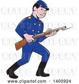 Vector Clip Art of Retro Cartoon American Civil War Union Army Soldier Holding a Rifle with Bayonet by Patrimonio