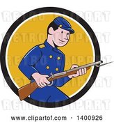 Vector Clip Art of Retro Cartoon American Civil War Union Army Soldier Holding a Rifle with Bayonet, Emerging from a Black White and Yellow Circle by Patrimonio