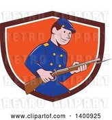 Vector Clip Art of Retro Cartoon American Civil War Union Army Soldier Holding a Rifle with Bayonet, Emerging from a Shield by Patrimonio