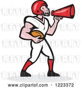 Vector Clip Art of Retro Cartoon American Football Player Holding a Ball and Using a Megaphone by Patrimonio
