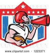Vector Clip Art of Retro Cartoon American Football Player Holding a Ball and Using a Megaphone over a Shield by Patrimonio