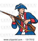 Vector Clip Art of Retro Cartoon American Patriot Militia Soldier Carrying a Musket Rifle by Patrimonio
