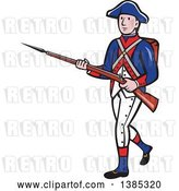 Vector Clip Art of Retro Cartoon American Revolutionary Soldier Marching with a Rifle by Patrimonio