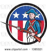 Vector Clip Art of Retro Cartoon American Revolutionary Soldier Marching with a Rifle in a Patriotic Circle by Patrimonio