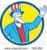 Vector Clip Art of Retro Cartoon American Uncle Sam Waving in a Blue White and Yellow Circle by Patrimonio