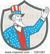 Vector Clip Art of Retro Cartoon American Uncle Sam Waving in a Shield by Patrimonio