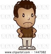 Vector Clip Art of Retro Cartoon Angry Black Boy with Hands on His Hips by Cory Thoman