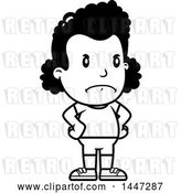 Vector Clip Art of Retro Cartoon Angry Black Girl in Shorts, with Hands on Her Hips by Cory Thoman