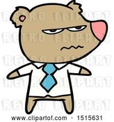 Vector Clip Art of Retro Cartoon Angry Boss Bear by Lineartestpilot