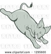 Vector Clip Art of Retro Cartoon Angry Elephant Bucking by Patrimonio