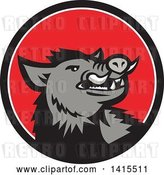 Vector Clip Art of Retro Cartoon Angry Gray Boar in a Black White and Red Circle by Patrimonio