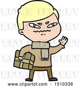 Vector Clip Art of Retro Cartoon Angry Guy Carrying Parcel by Lineartestpilot