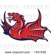 Vector Clip Art of Retro Cartoon Angry Red Dragon Flying by Patrimonio