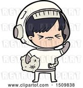 Vector Clip Art of Retro Cartoon Angry Space Girl by Lineartestpilot