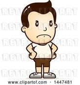 Vector Clip Art of Retro Cartoon Angry White Boy in Shorts, with Hands on His Hips by Cory Thoman