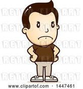 Vector Clip Art of Retro Cartoon Angry White Boy with Hands on His Hips by Cory Thoman