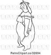 Vector Clip Art of Retro Cartoon Annoyed Female Worker by Picsburg