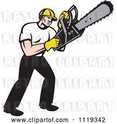 Vector Clip Art of Retro Cartoon Arborist Tree Surgeon or Lumberjack Operating a Chainsaw by Patrimonio