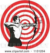Vector Clip Art of Retro Cartoon Archer Guy Shooting an Arrow over a Target by Patrimonio