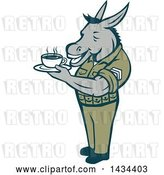 Vector Clip Art of Retro Cartoon Army Sergeant Donkey Holding a Cup of Coffee by Patrimonio