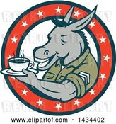 Vector Clip Art of Retro Cartoon Army Sergeant Donkey Holding a Cup of Coffee on a Saucer in a Circle of Stars by Patrimonio