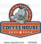 Vector Clip Art of Retro Cartoon Army Sergeant Donkey Holding a Cup of Coffee on a Saucer in a Circle of Stars over Text by Patrimonio