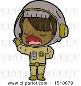 Vector Clip Art of Retro Cartoon Astronaut Lady Explaining by Lineartestpilot
