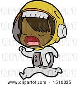 Vector Clip Art of Retro Cartoon Astronaut Lady Running by Lineartestpilot