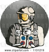 Vector Clip Art of Retro Cartoon Astronaut over a Halftone Circle by Patrimonio