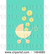 Vector Clip Art of Retro Cartoon Baby Stroller with Falling Coins by BNP Design Studio