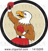 Vector Clip Art of Retro Cartoon Bald Eagle Guy Boxer Pumping His Fist in a Black White and Tan Circle by Patrimonio
