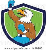 Vector Clip Art of Retro Cartoon Bald Eagle Guy Boxer Pumping His Fist in a Blue White and Green Shield by Patrimonio