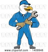 Vector Clip Art of Retro Cartoon Bald Eagle Mechanic Guy Holding a Spanner Wrench by Patrimonio